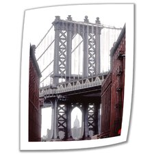 Linda Parker 'Manhattan Bridge with Empire State Building' Unwrapped Canvas Wall Art
