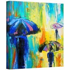 'Turquiose Rain' by Susi Franco Painting Print Canvas