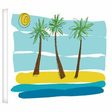 'Beach Day Palms I' by Jan Weiss Graphic Art Canvas