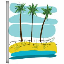 Jan Weiss 'Beach Day Palms II' Unwrapped Canvas Wall Art
