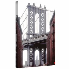 'Manhattan Bridge with Empire State Building' by Linda Parker Photographic Print on Canvas