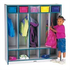 <strong>Jonti-Craft</strong> Rainbow Accents Coat Locker w/Step - 5 Sections