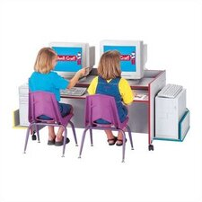 "<strong>Jonti-Craft</strong> ThriftyKYDZ 48"" W Double Computer Desk with Rainbow Accents"