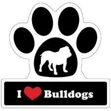 Bulldog Paw Car Magnet