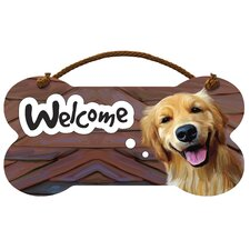 Golden Retriever Welcome Wall Sign