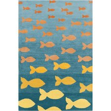 Cinzia Blue / Orange Fish Pool Area Rug