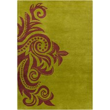 <strong>Filament  LLC</strong> Cinzia Green/Dark Brown Abstract Rug