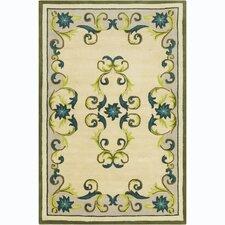 Cinzia Cream / Green Floral Area Rug