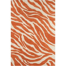 Cinzia Cream / Orange Abstract Area Rug