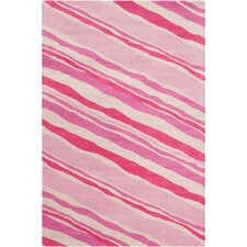 Cinzia Pink/Cream Striped Rug