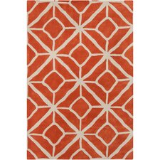 Cinzia Orange / Grey Geometric Area Rug