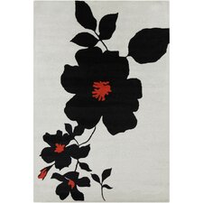 Cinzia Grey / Black Floral Area Rug