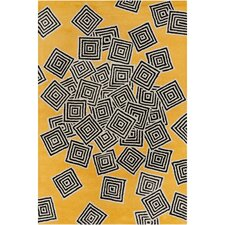 Cinzia Yellow / Black Geometric Area Rug