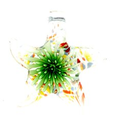 Truly In Love Murano Inspired Glass Blooming Star Necklace Pendant