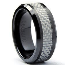Flat Top Men's Ceramic Carbon Fiber Comfort Fit Wedding Band