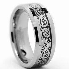 Tungsten Carbide Comfort Fit Celtic Dragon Wedding Band
