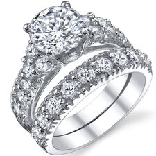 Solid Sterling Silver Round Cubic Zirconia 925 Engagement Bridal Rings Set