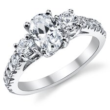Sterling Silver Oval Cubic Zirconia 925 Wedding Engagement Ring