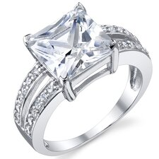 Sterling Silver Princess Cubic Zirconia Wedding Engagement Ring