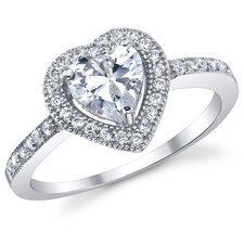 Sterling Silver Heart Cubic Zirconia 925 Wedding Engagement Ring
