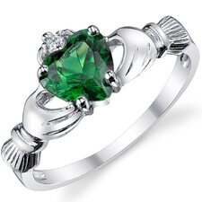 Stelring Silver Irish Claddagh Friendship and Love Cubic Zirconia Ring