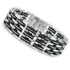 Men's Triple Row Stainless Steel Rubber Biker Bracelet