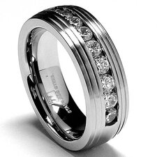 Stainless Steel Cubic Zirconia Comfort Fit Wedding Band