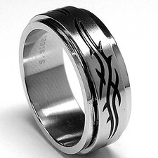 Men's Stainless Steel Barbwire Spinner Ring