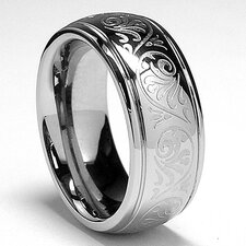 Stainless Steel Engraved Florentine Comfort Fit Ring