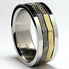 Men's Tricolor Stainless Steel Comfort Fit Greek Key Laser Spinner Ring