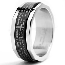 <strong>Bonndorf Laboratories</strong> Men's Two Tone Stainless Steel Comfort Fit Lords Prayer and Cross Ring