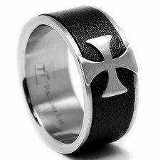 Stainless Steel Brushed Cross Ring