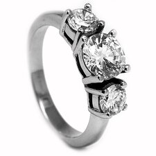 Stainless Steel 2.25 Carat TCW Cubic Zirconia Engagement Ring