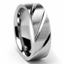 Men's Stainless Steel Diagnol Grooves Comfort Fit Ring