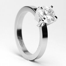 Stainless Steel 1.25 Carat Cubic Zirconia Engagement Ring