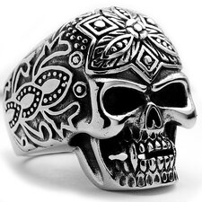 Men's Stainless Steel The Ultimate Casted Skull Tribal Biker Ring