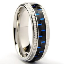 Stainless Steel Textured Comfort Fit Wedding Band