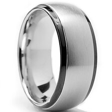Men's Two Tone Stainless Steel Dome Comfort Fit Ring