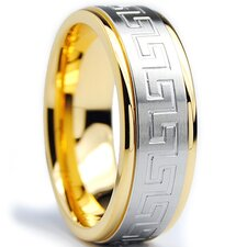 Stainless Steel Greek Key Comfort Fit Wedding Band