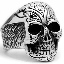 Men's Stainless Steel Casted Tribal Skull Biker Ring with Wings