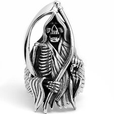 Men's Stainless Steel Casted Grim Reaper Biker Ring