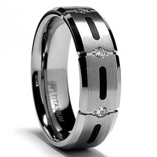 Titanium Cubic Zirconia Comfort Fit  Wedding Band