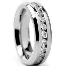 Women's Titanium Cubic Zirconia Eternity Band