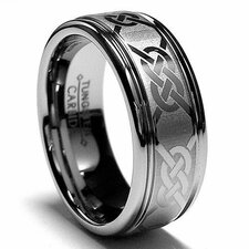 Tungsten Carbide Laser Etched Celtic Comfort Fit Wedding Band