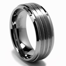 Tungsten Carbide Grooved Comfort Fit Wedding Band