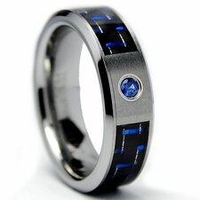 Ladies Tungsten Carbide Comfort Fit Sapphire Ring