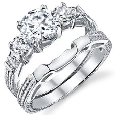 Solid Sterling Silver 925 Round Cubic Zirconia Bridal Set