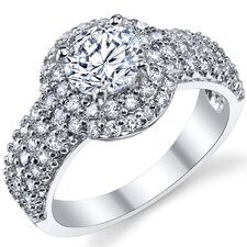 <strong>Bonndorf Laboratories</strong> Solid Sterling Silver 925 Cubic Zirconia Engagement Ring
