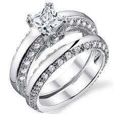 Solid Sterling Silver 925 Princess Cubic Zirconia Bridal Set