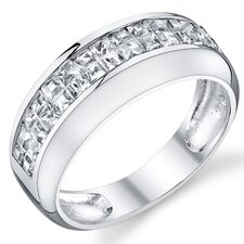 Solid Sterling Silver 925 Princess Cut Cubic Zirconia Wedding Band